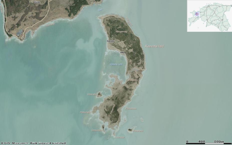 Kaevatsi laid koos ümbritsevate satelliitsaarekestega: Võrkrahu, Õmburahu, Paasrahu, Ratasrahu, Hülgerahu. Allikas: Maa-ameti Geoportaal.