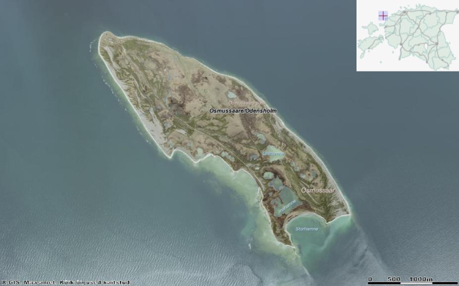 Osmussaare põhja- ja läänekalda ligidal meres on näha murrutusjoon: saare endine piir. Meri sööb saart sealt poolt vähemaks; lõunast aga tekib maakerke tulemusel saarele pinda juurde. Allikas: Maa-ameti Geoportaal.