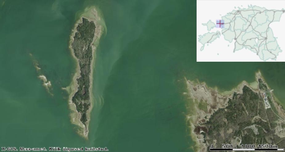 Piklik Hobulaid, mille põhjakalda ääres on tilluke ja puittaimedeta Varsalaid (Varsarahu) ning läänekalda ligidal Leetseljarahu ja Hülgerahu. Pildi alla paremale nurka jääb Rohuküla sadam. Allikas: Maa-ameti Geoportaal.