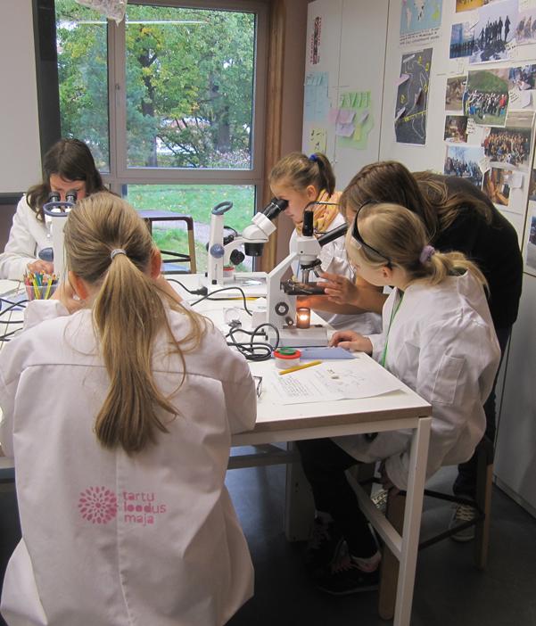 Õppetöö Loodusmaja laboris