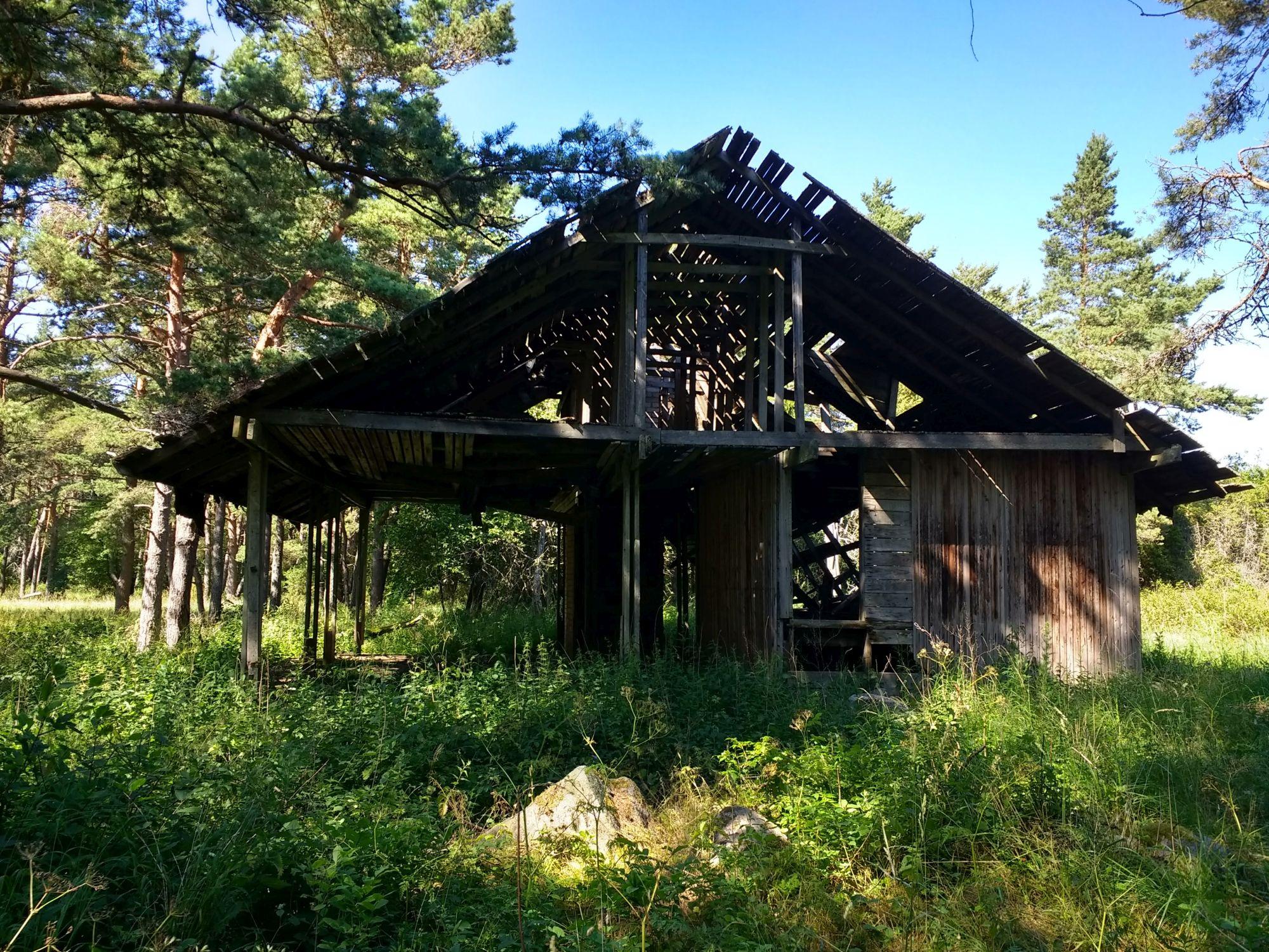 Endise pioneerilaagri lagunenud hoone männipadriku servas