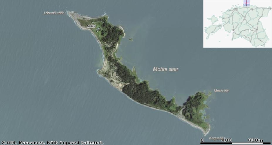 Kiitsakas Mohni Soome lahes. Nelinurkne tuletornihoonete kompleks asub pildil saare ülaosas. Allikas: Maa-ameti Geoportaal.