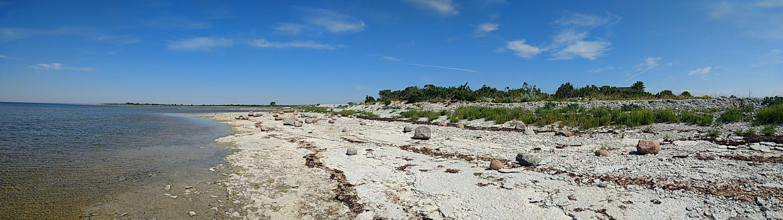 Panoraam meie randumiskohast, kus on põrandale sarnanev paeplatoo. Foto: Kadri Aller