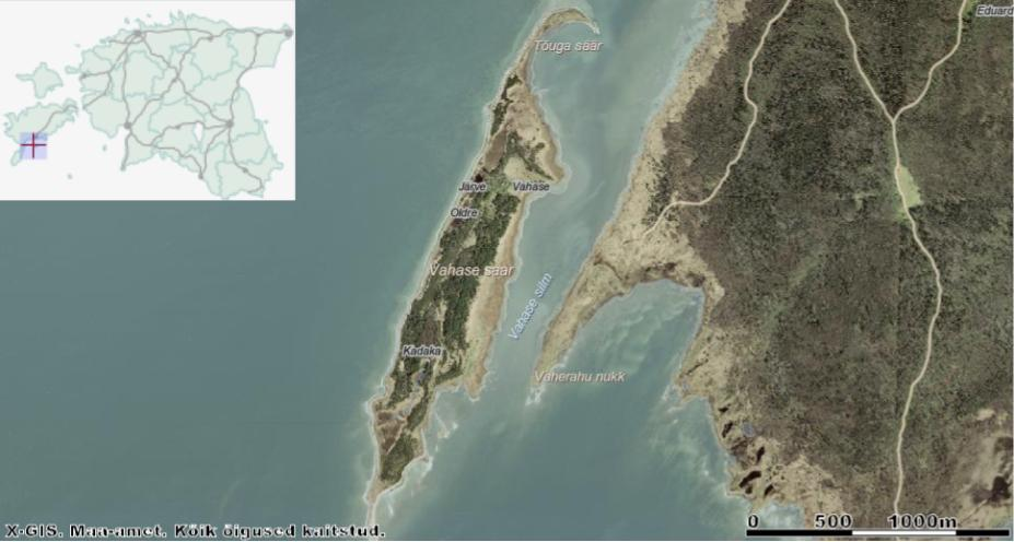 Vahase saar, tema suur vend Abruka ning neid lahutav Vahase silm. Allikas: Maa-ameti Geoportaal.