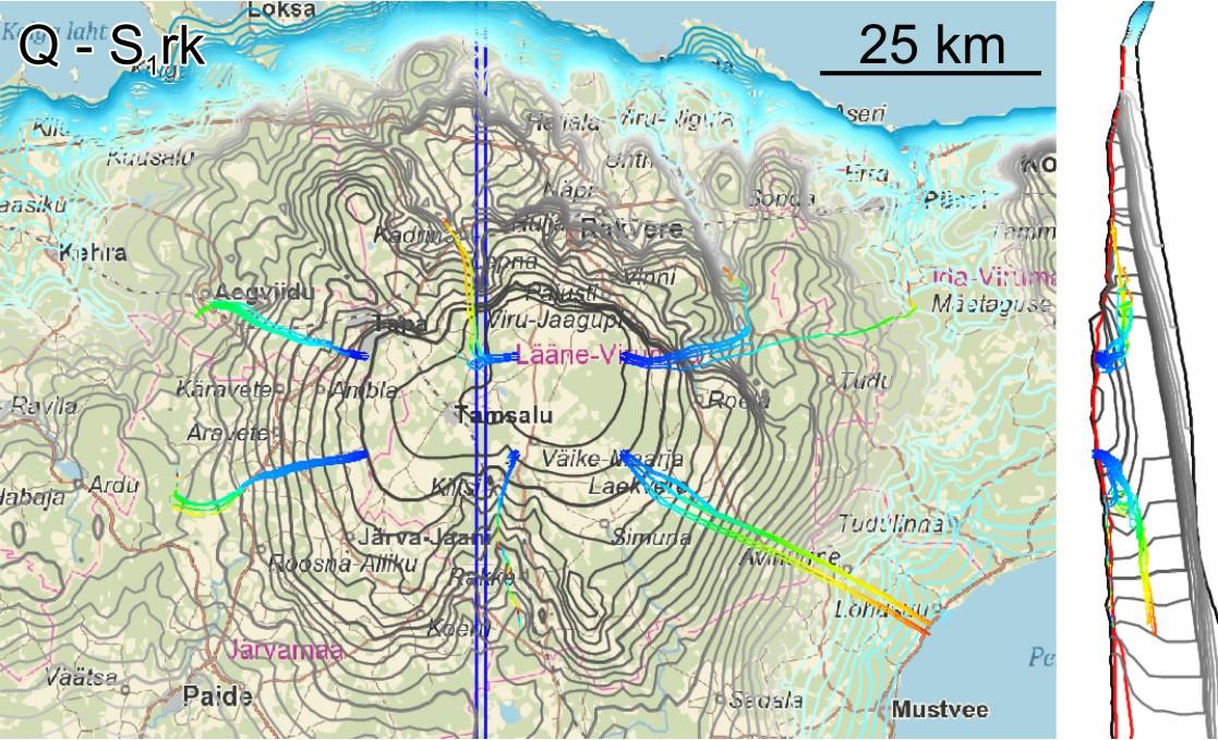 Põhjavee vooluteekonnad markerpunktidest Q ja Raikküla veekihtides. Jooned sinisest punaseni markeerivad vooluteekondi 1000 aasta jooksul (näiteks kui jooned kulgevad sinisest roheliseni, siis vesi jõudis maapinnani umbes 500 aastat tagasi. Taustal on sinisest hallini tähistatud põhjavee survetase vastavas veekihis või veekihi puudumisel maapinnast esimeses kihis. Paremal asuva läbilõike asukoht on markeeritud siniste püstjoontega.